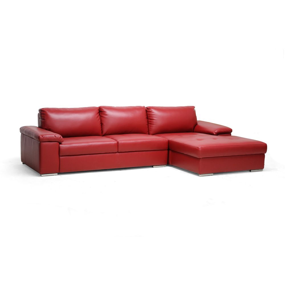 Dawson Red Leather Modern Sectional Sofa | Overstock.com Shopping ...