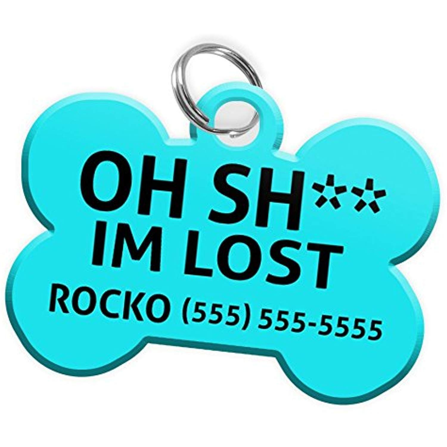 Pet Id Dog Tag Bone Shaped Oh Sh Im Lost Funny Personalized