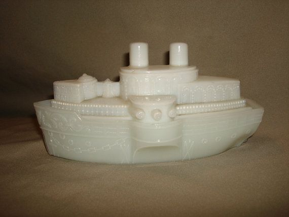 Antique MAINE BATTLESHIP White Milk Glass by PastPossessionsOnly