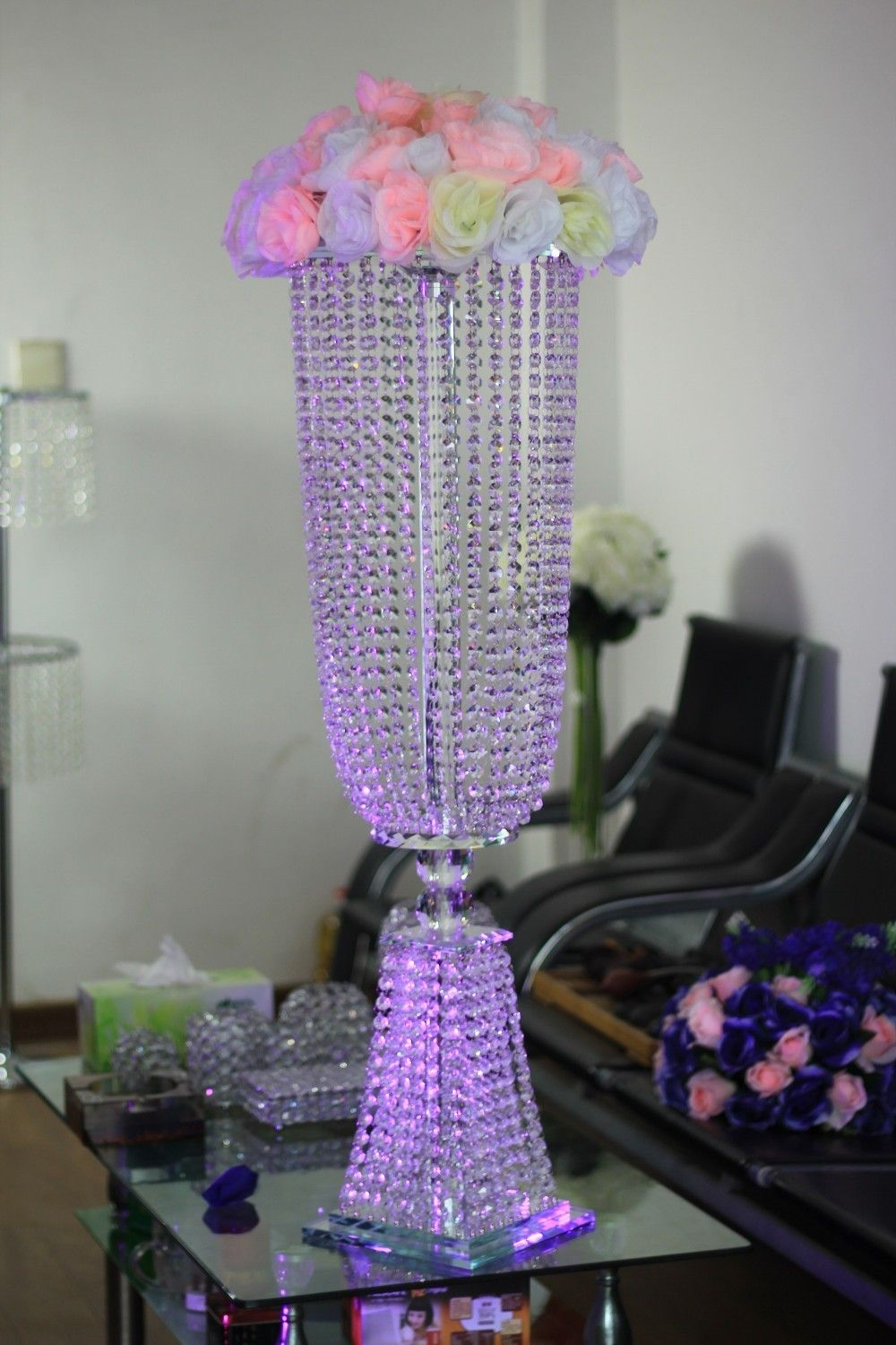 Crystal Wedding Centerpiece Table Top Chandeliers Flower Stand Without Home