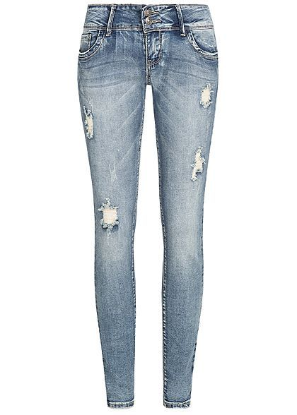 07ef9c7a5843f8 Seventyseven Lifestyle Damen Skinny Jeans Hose 5-Pockets Destroy Look  medium blau denim - 77onlineshop
