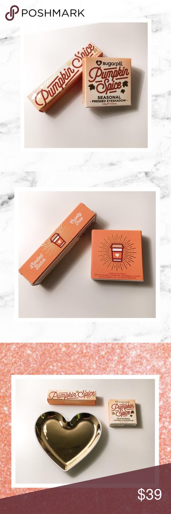 💕🎀Sugarpill 💎🌷 Pumpkin Spice Sugarpill Limited Edition Pumpkin Spice liquid lipstick and eyeshadow. New in box never used, never swatched. Soooo cute! 💎🎀💕 Sugarpill Makeup Eyeshadow