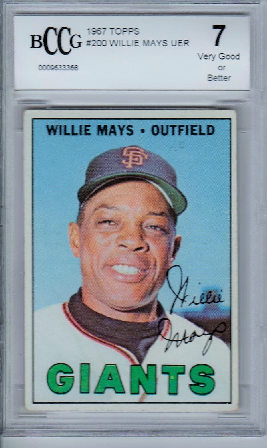 Willie Mays 1967 Topps 200 Beckett Graded 7 Bccg Well