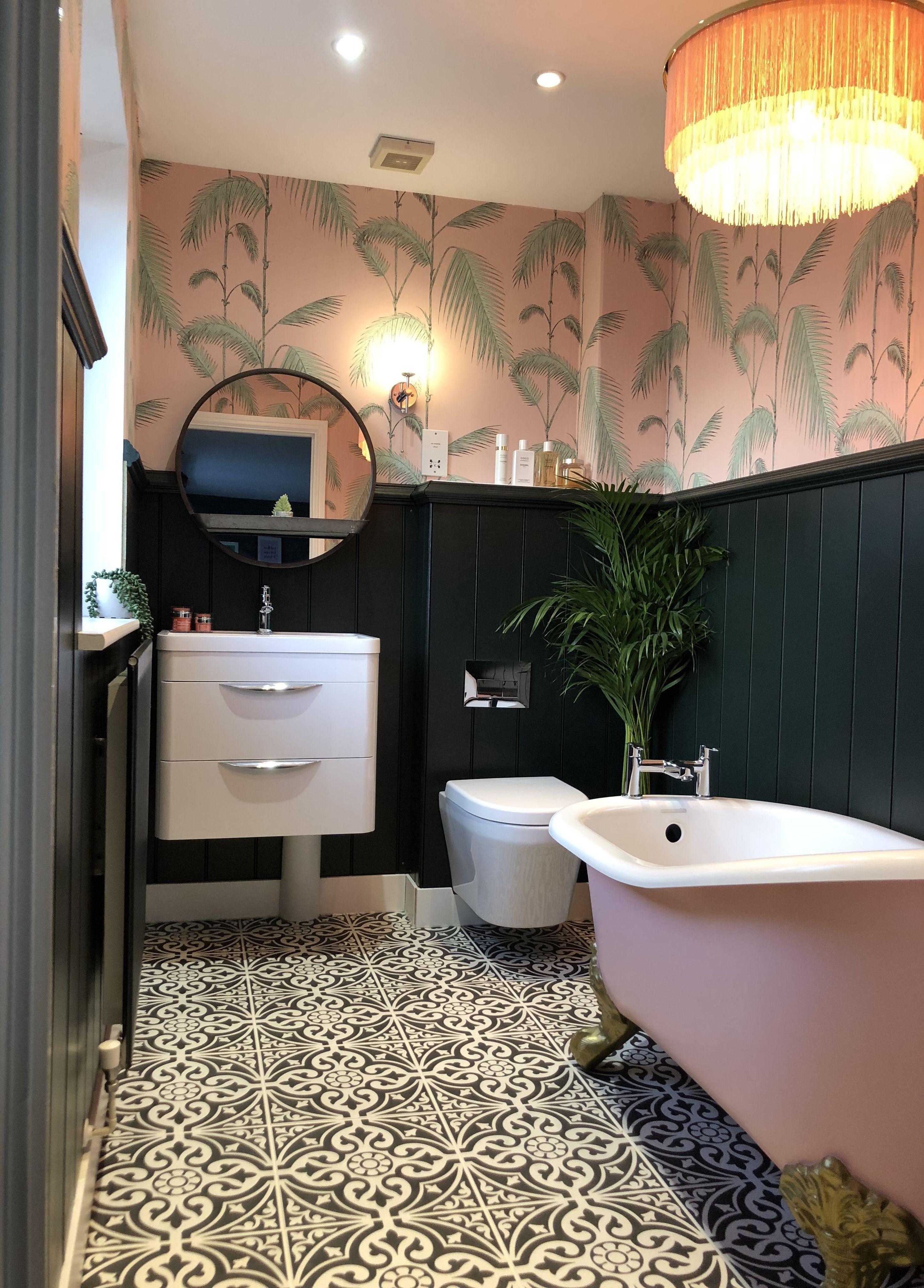 Jools Pink And Green Bathroom Of Dreams Green Bathroom Bathroom Red Green Bathroom Decor