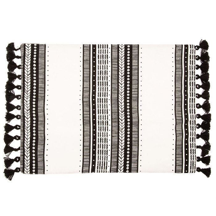 Black White Striped Placemat With Tassels Throw Pillow Diy Easy Throw Pillows Diy Tassel