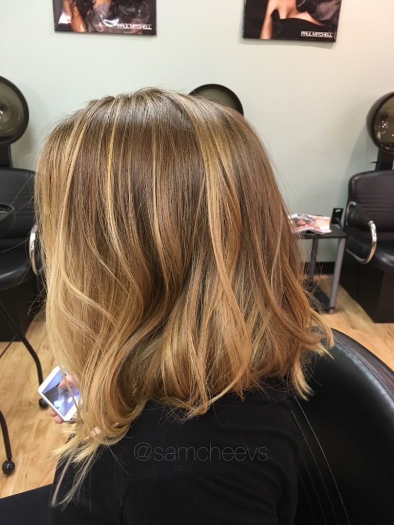 Long Bob Haircut With Honey Golden Blonde Hair Color Balayage With