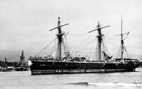 NH 42291: German Corvette Olga. Beached on the eastern side of Apia Harbor, Upolu, Samoa, soon after the storm. View looks to the southwestward, with the wrecks of USS Trenton and USS Vandalia in the left background. Note Olga's damaged bow. Her funnels and fore and main topmasts are in lowered positions. Naval History and Heritage Command Photograph.