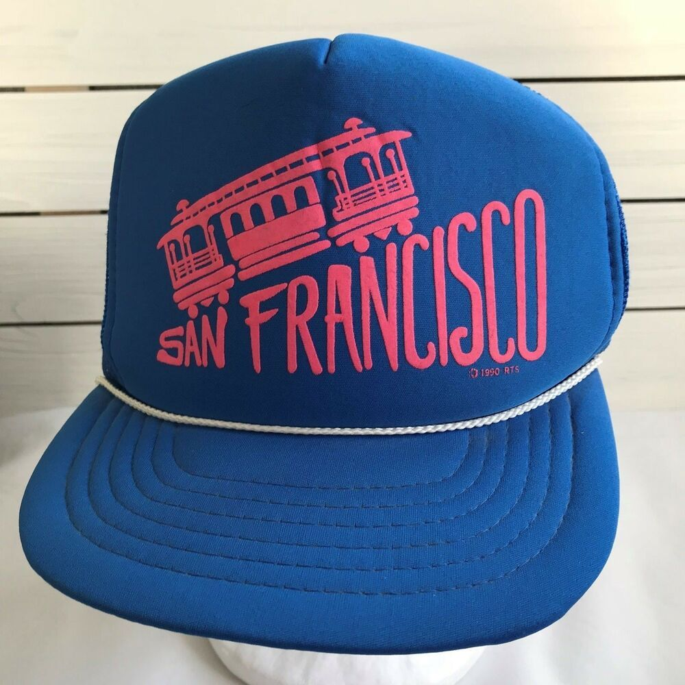 abd27cc3f07 Vintage San Francisco Cable Car Trucker Mesh Snapback Hat Cap Blue Pink  1990  Unbranded  TruckerHat