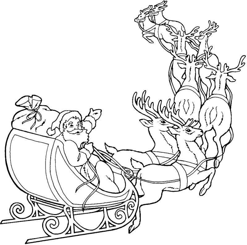 Santa Claus And Deer Coloring Page