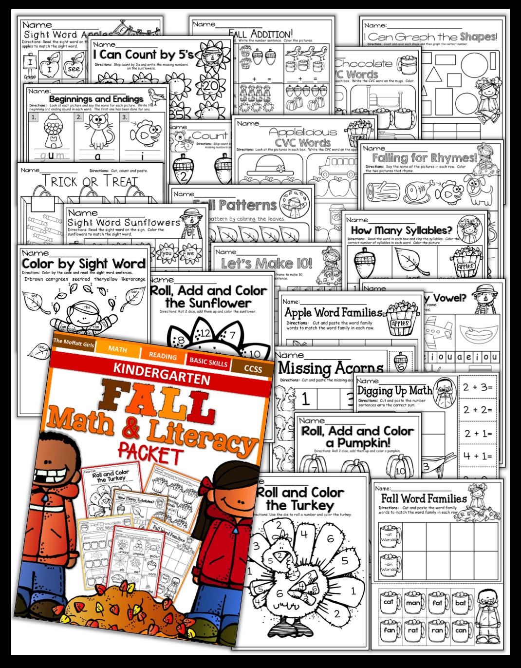 The Moffatt Girls Fall Math And Literacy Packet