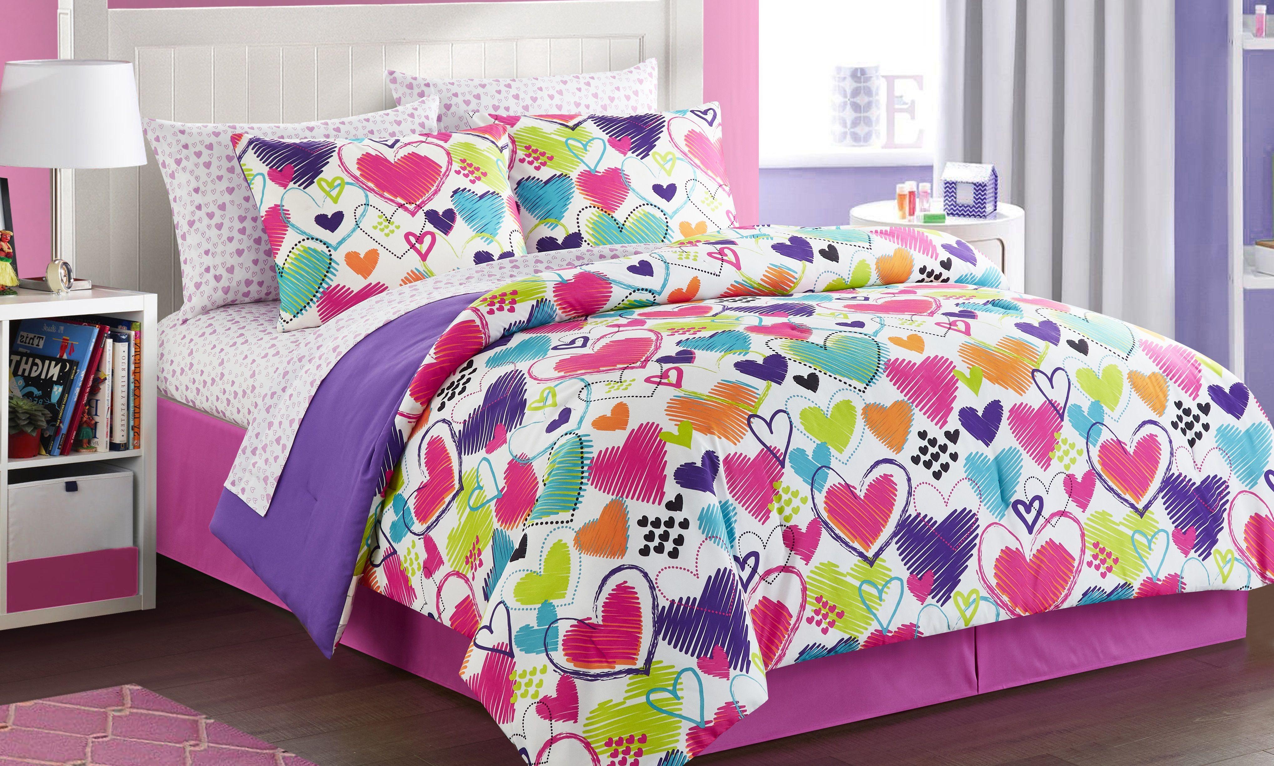 Latitude Bright Hearts Bed In A Bag Bedding Set Walmart Com