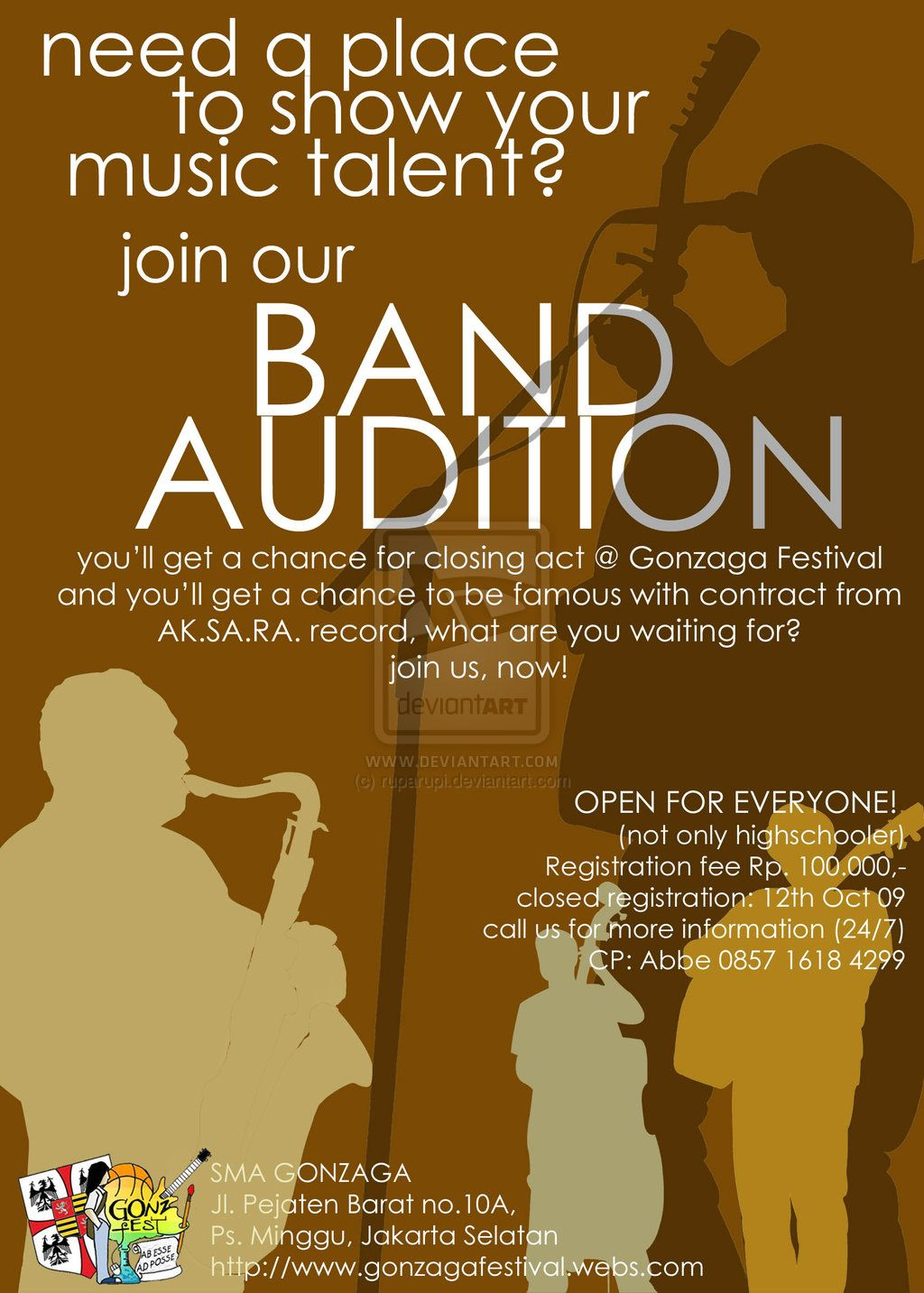 band audition flyer templates