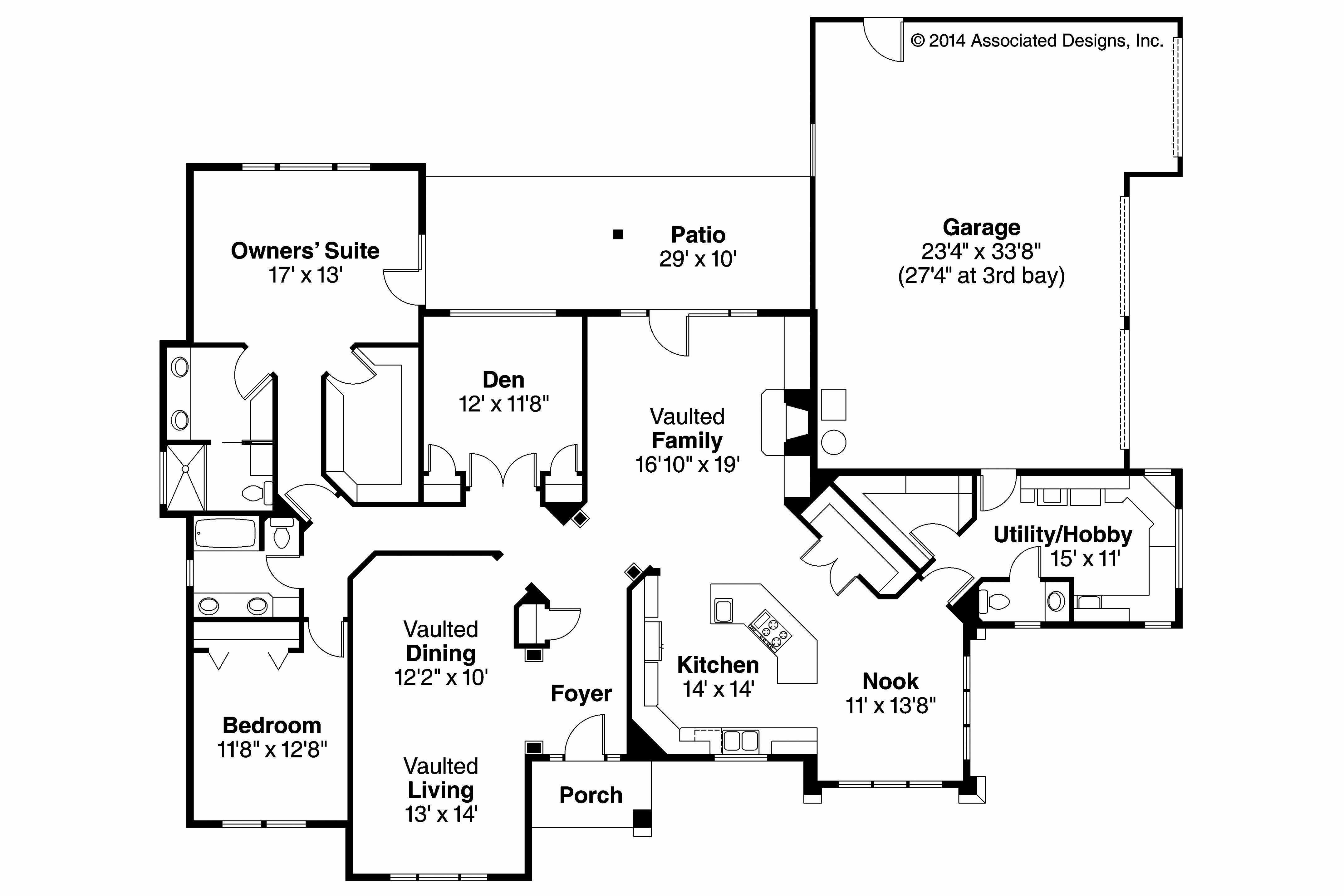 Ranch Style House Plan 3 Beds 2 Baths 1924 Sq Ft Plan 427 6 Ranch Style House Plans Small House Plans Ranch House Plans