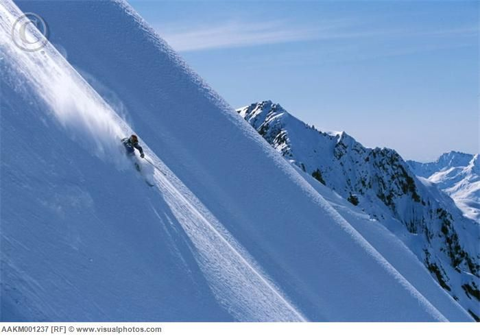 Telemark skiing powder