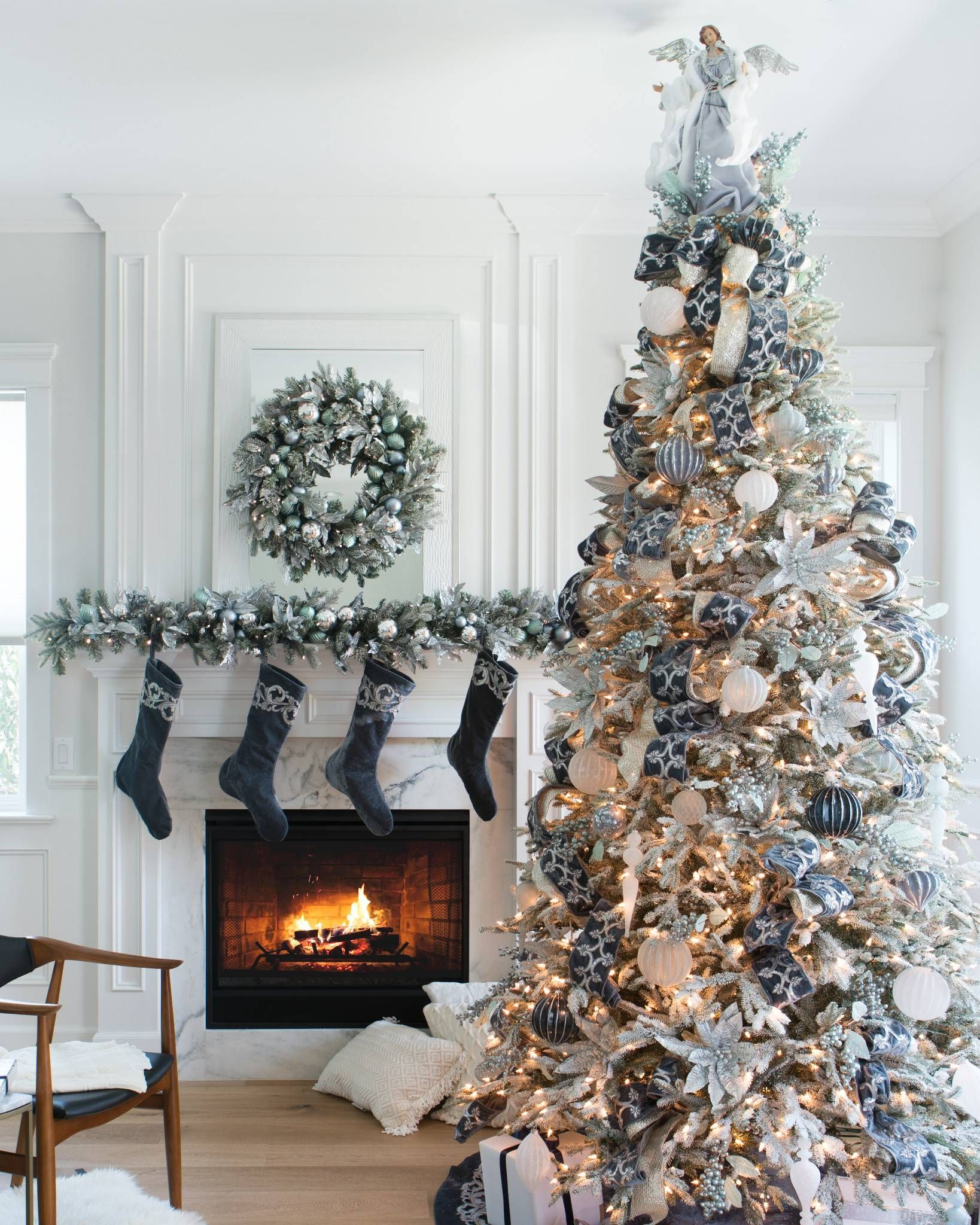 Bh Frosted Fraser Fir 8482 Narrow Christmas Tree Christmas Tree Decorations Balsam Hill Christmas Tree