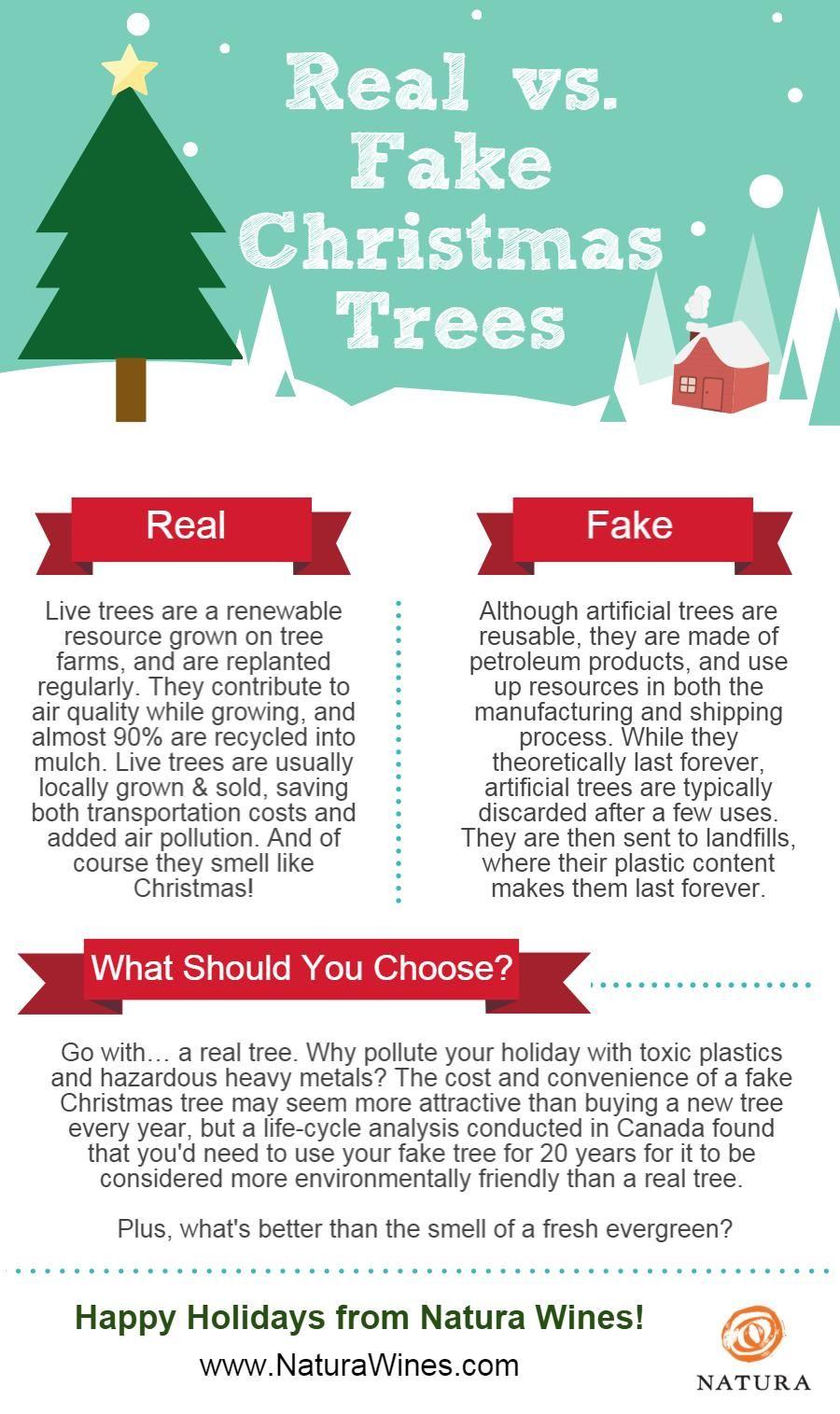 Real Vs Fake Christmas Trees Infographic Fake Christmas Trees Eco Friendly Christmas Christmas Tree
