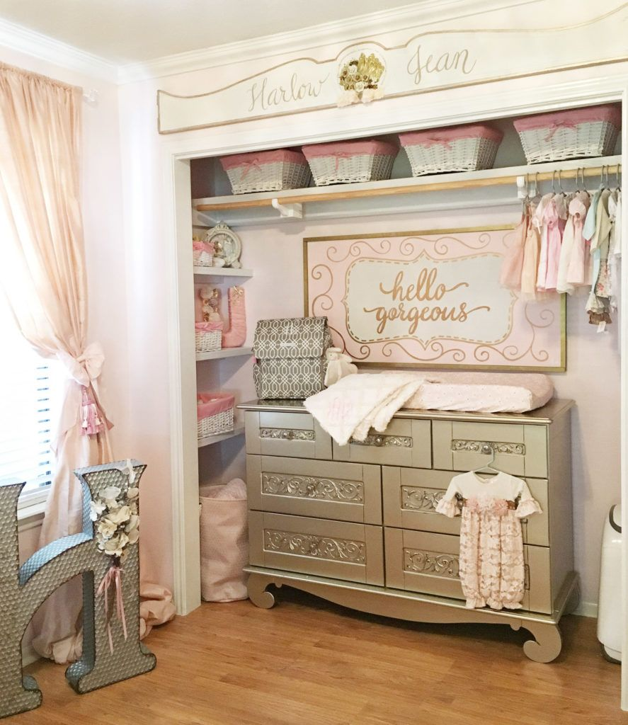 Glamorous Pink And Gold Nursery With Calligraphy Sign Project