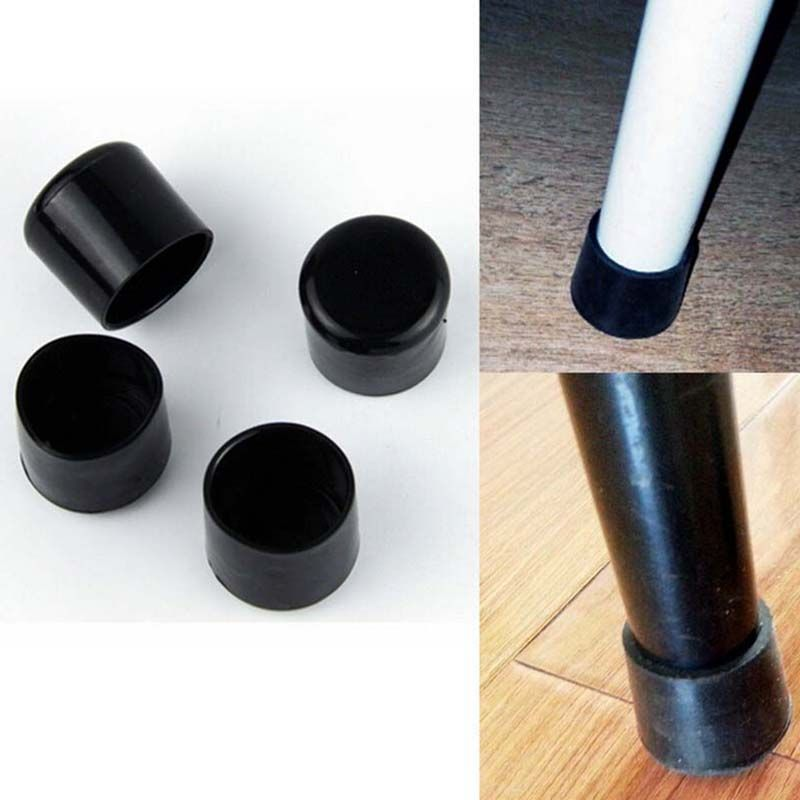 4pcs Set Black 22mm Chair Leg Caps Pvc Plastic Feet Protector Pads Furniture Table Covers Round Bottom Furniture Legs Metal Patio Chairs Chair Legs