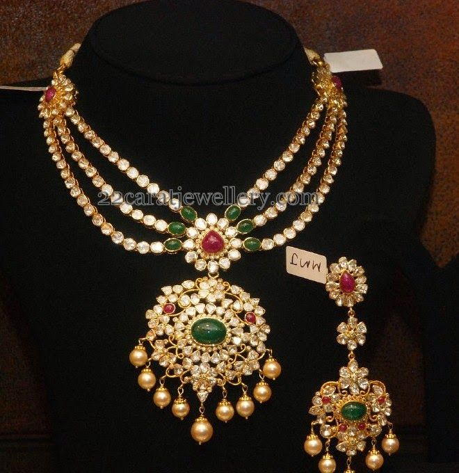 New Necklace Earring Set Gold Polki Jewellery Indian: Polki Set With Earrings In 3 Steps