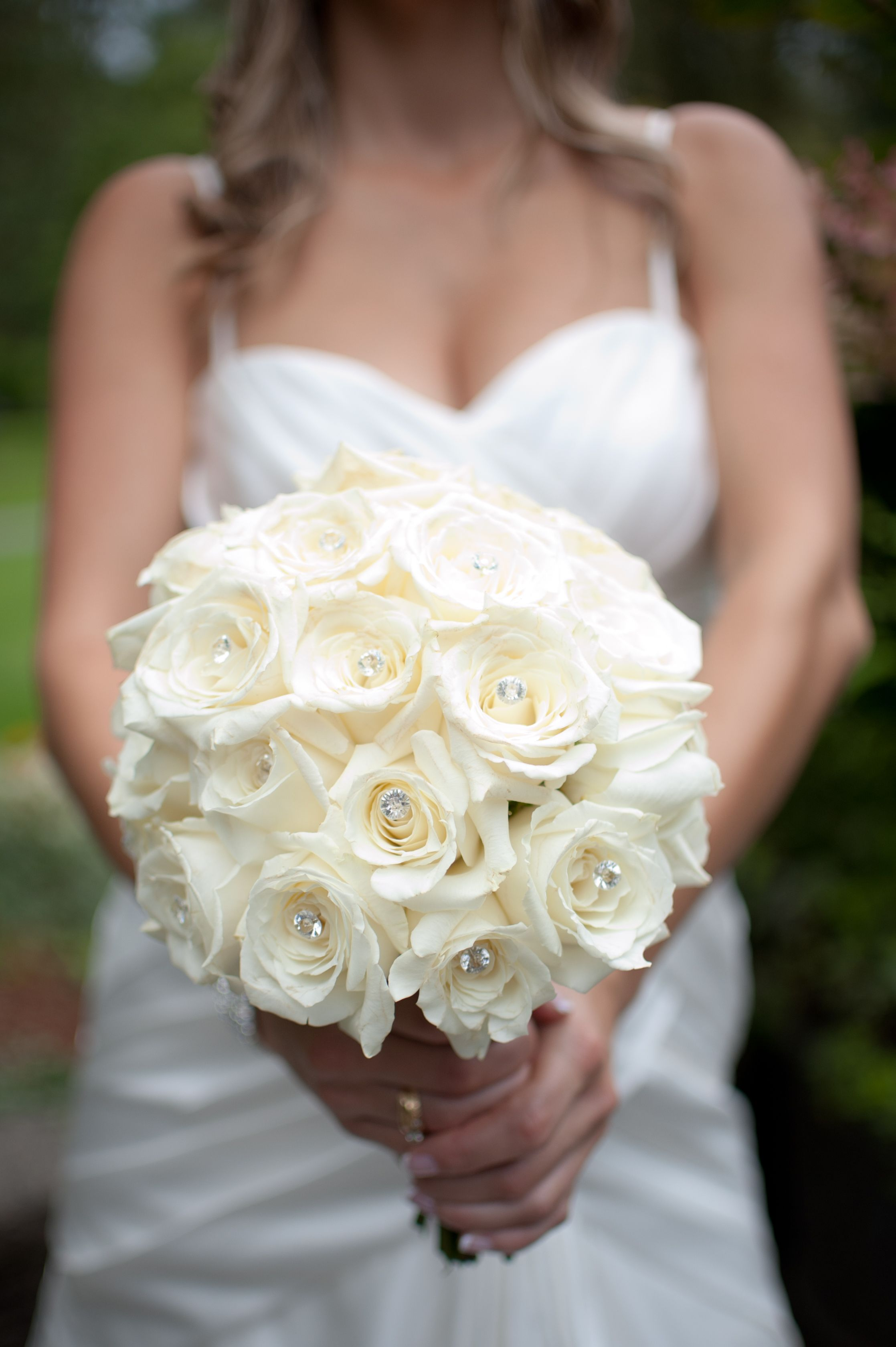 White Rose Bouquet With Bling Flowers Pinterest Wedding Rose Bouquet And Brides