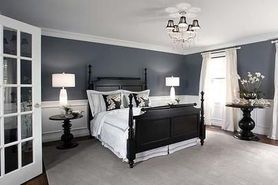 Love The Wall Colors Crisp White Linens And Black Furniture Bedroom Colors Home Bedroom Furniture Chairs