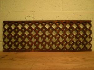 Reclaimed Victorian Cast Iron Floor Grilles to top a credenza in kitchen, make it heat proof.