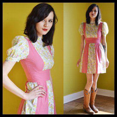 1970s Vintage Cute Pink Flowered Mini Spring Dress S | eBay