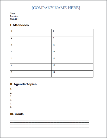 Free Meeting Agenda Template Teen Center – Classroom Agenda Template