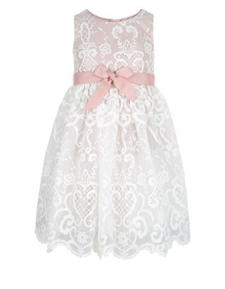 Designed with a fit-and-flare silhouette, our Elizabeth lace dress for girls is a pretty choice for parties and special occasions. It's cinched at the waist with a grosgrain ribbon band, and finished with a scallop-edged hemline.