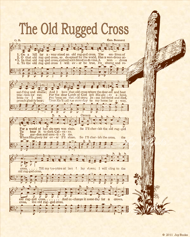 The Old Rugged Cross Christian Heritage Hymn Sheet Music Vintage Style Natural Parchment Sepia Brown Ink 8x10 Art Hymn Art Hymns Lyrics Hymn Sheet Music