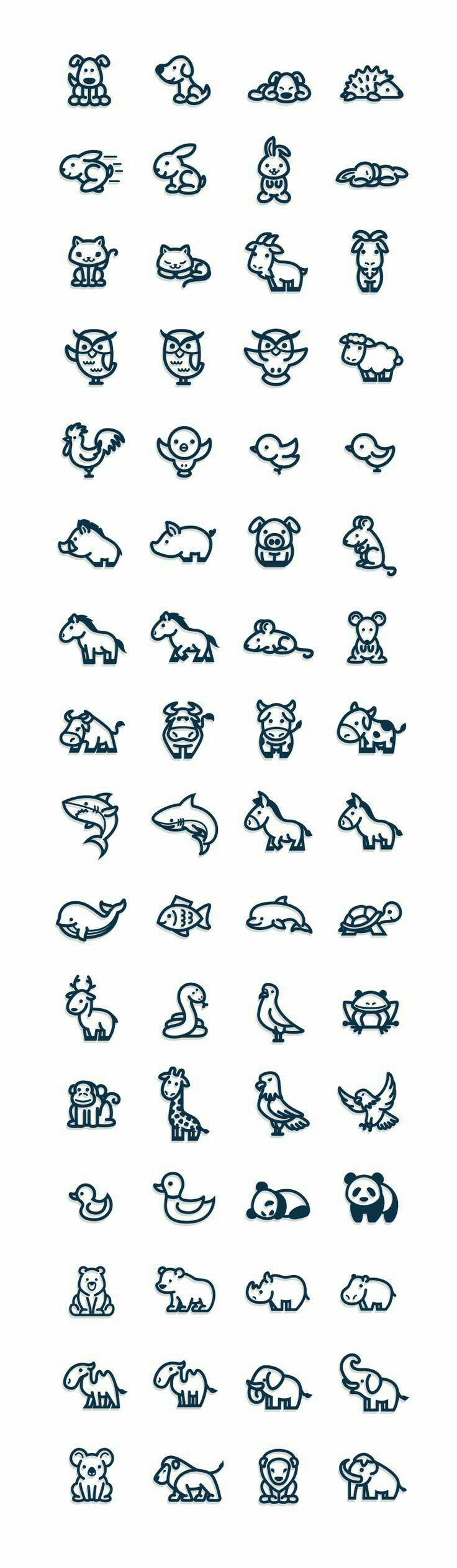 Animals Cute Kawaii Logo татуировки с животными дизайн