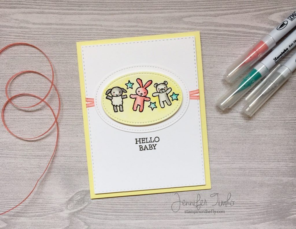 Hello Baby Croghan by Jen Timko | Moon Baby Stamp Set by Stampin' Up, Zig Clean Color Pens, Watercolor