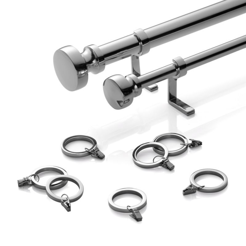Rorke Nickel 1 25 Dia X88 120 Curtain Rod Set Curtains With Rings Curtain Rods Curtain Hardware