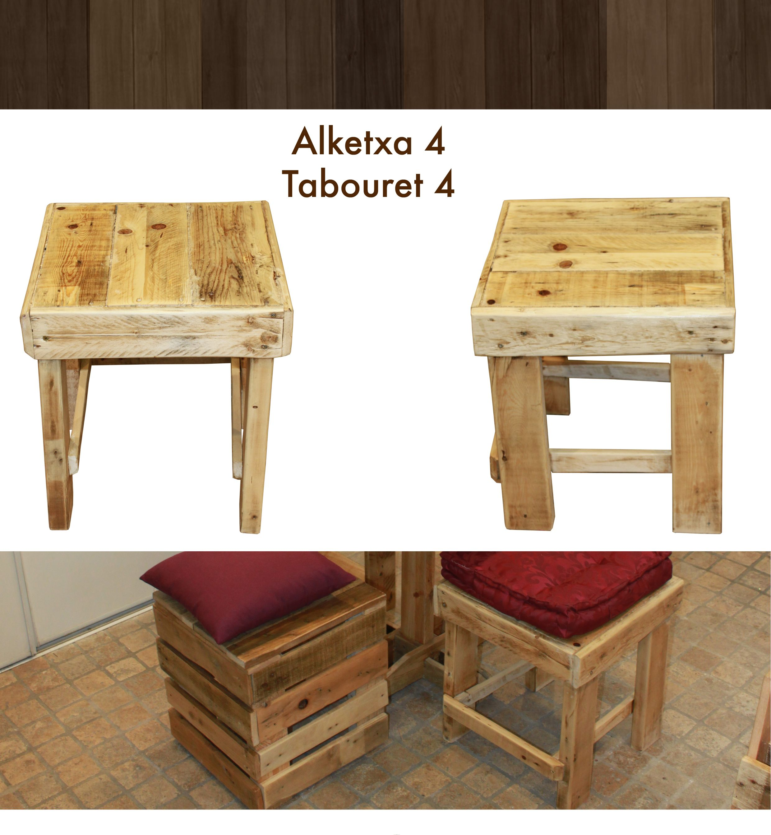 tabouret classique en bois de palette paletwood pinterest. Black Bedroom Furniture Sets. Home Design Ideas