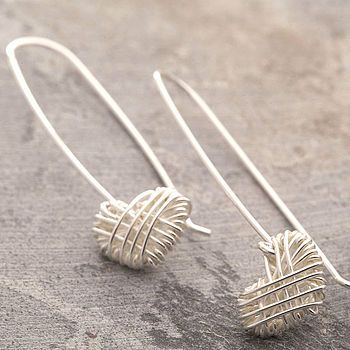 Silver Crocheted Heart Drop Earrings