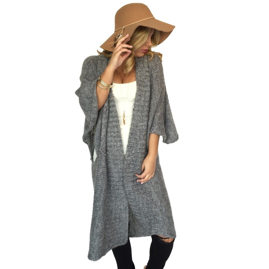 Grey Oversize Long Body Cardigan