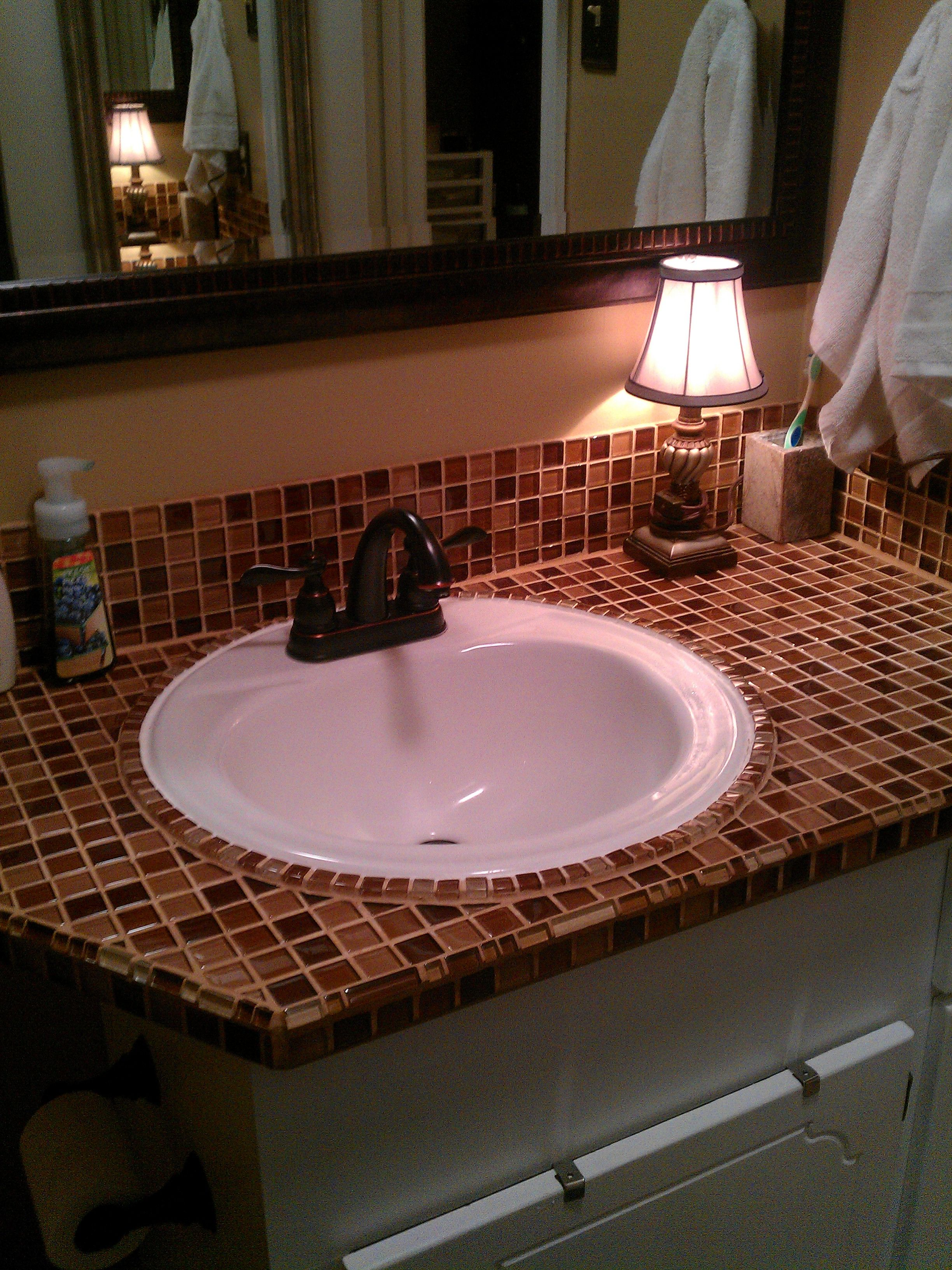 Bathroom Counter With Glass Tiles Tile Countertops Bathroom