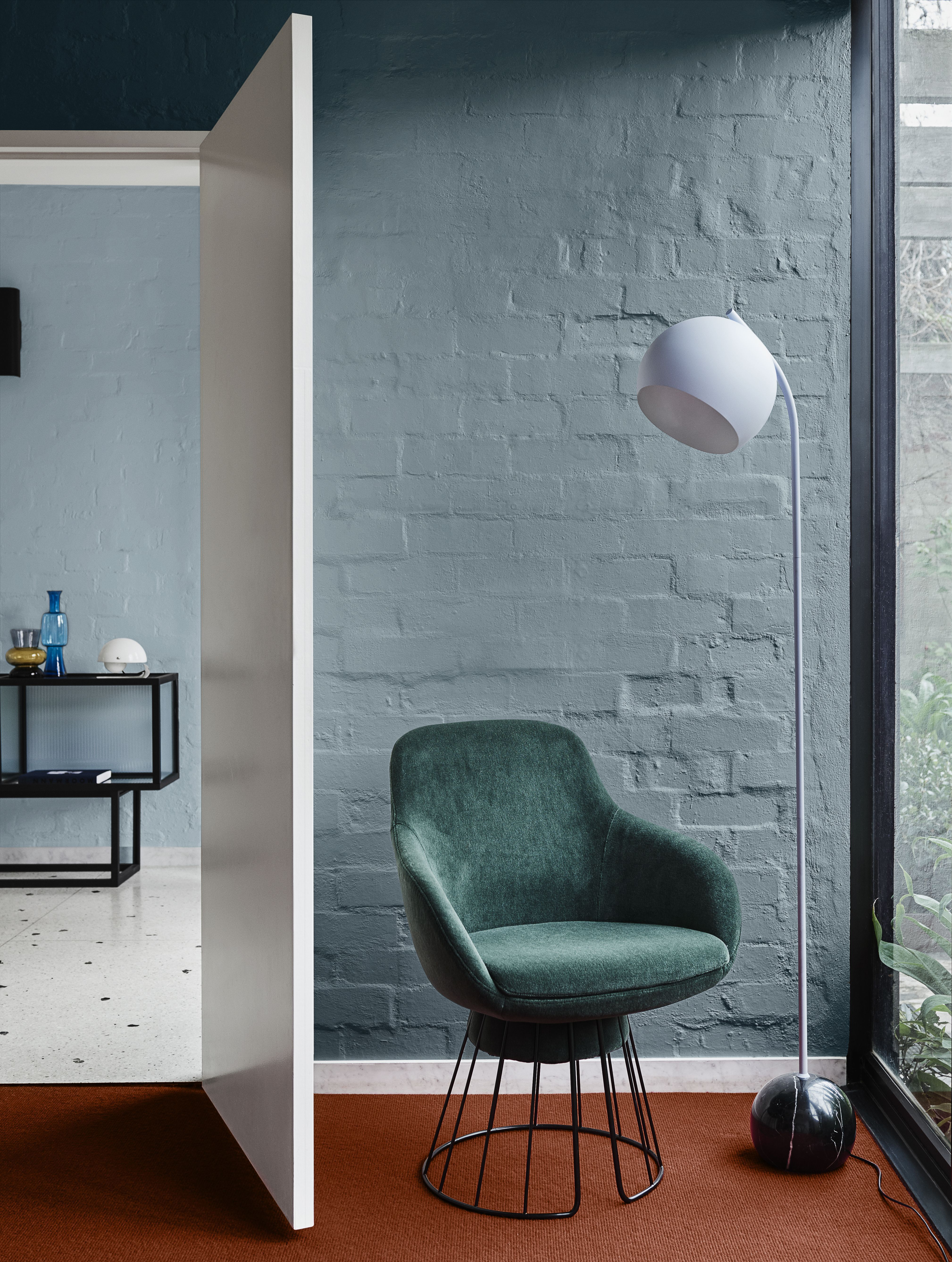 Oct 25, 2019 - Comeback's serene and refreshing tonal blue palette is right at home in a bedroom. Tap into the terrazzo revival with graphically patterned textiles. From the Dulux 2020 Colour Forecast trend 'Comeback'. Dulux colours: Lake Camp, Undersea. #Dulux #bluetheme #bluecolourscheme #houseenvy