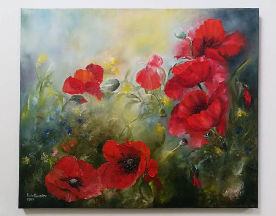 Mohnblute Olgemalde Geschenk Idee Floral Art Dekor Mohn Artwork Ol Rot Mohnfeld Auf Leinwand Fur Sie Gesch Mit Bildern Wie Man Blumen Malt Blumen Gemalde Olgemalde Blumen