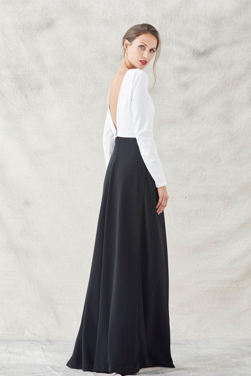 e2630d196 vestido blanco y negro largo con bordado de pez manga larga cuello redondo  apparentia vestidos de invitadas de fiesta