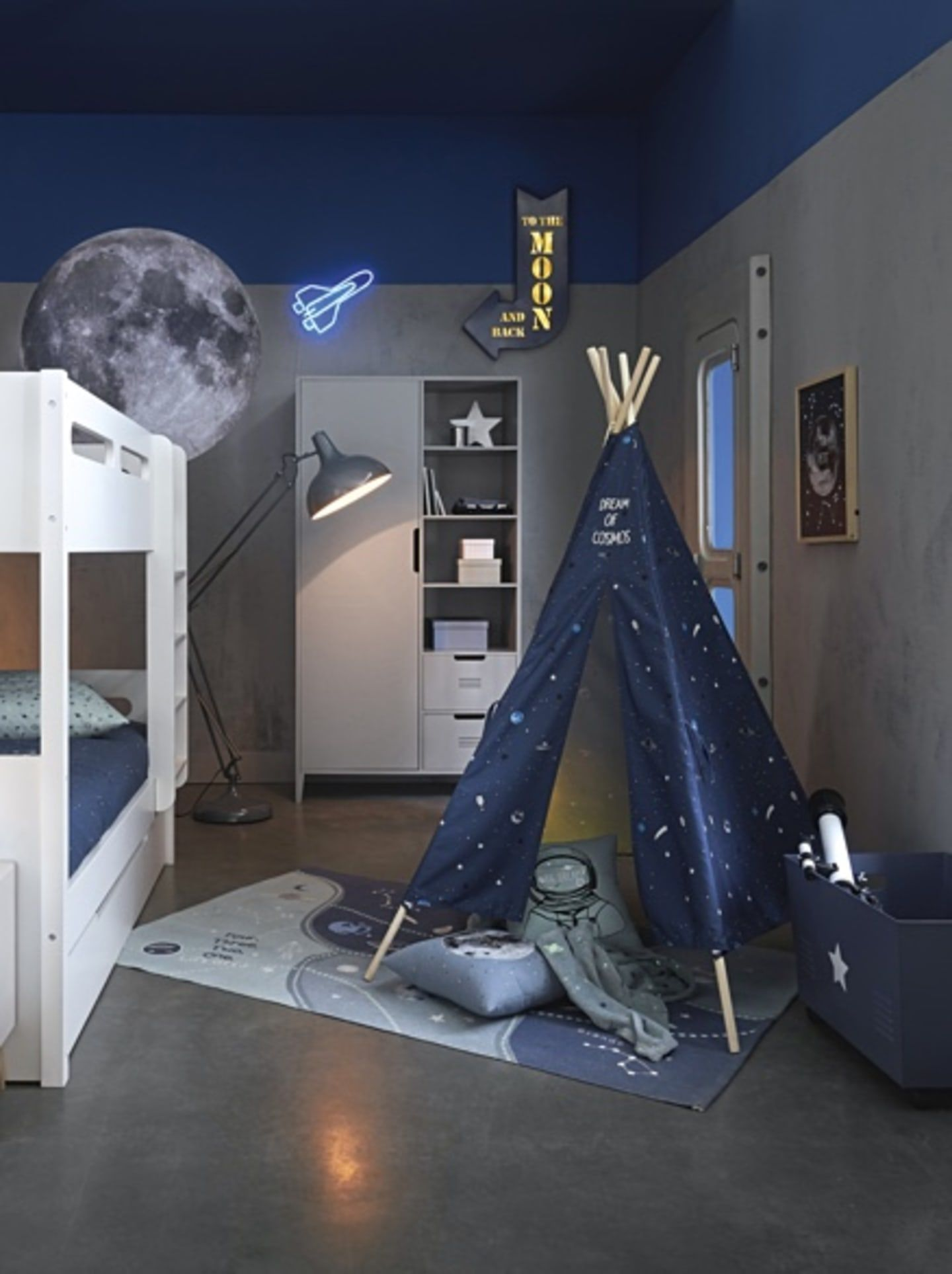 Stars And Moon Theme Children S Bedroom In Navy Blue And Grey