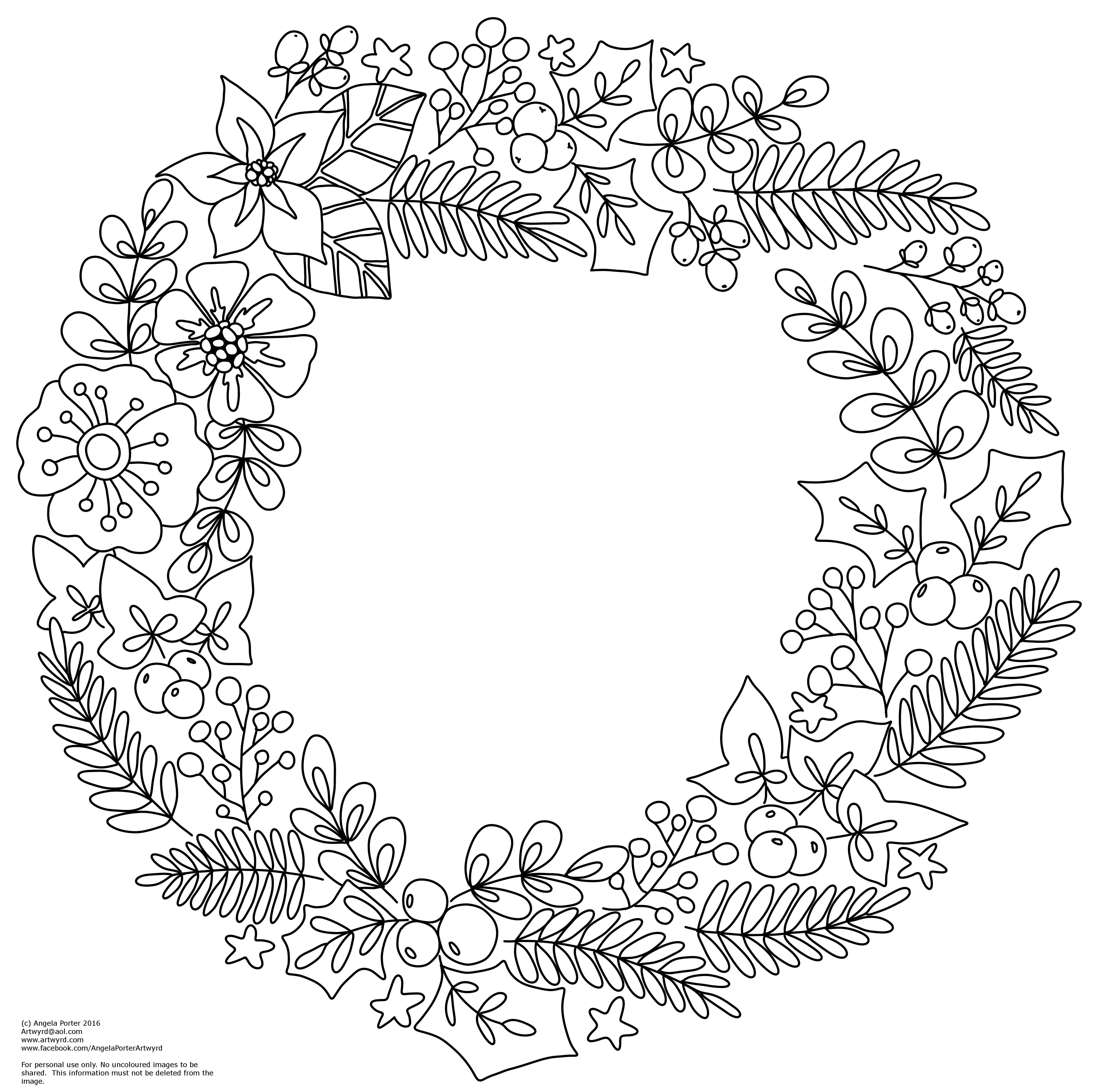 Winter/Christmas Wreath Colouring Pages Christmas