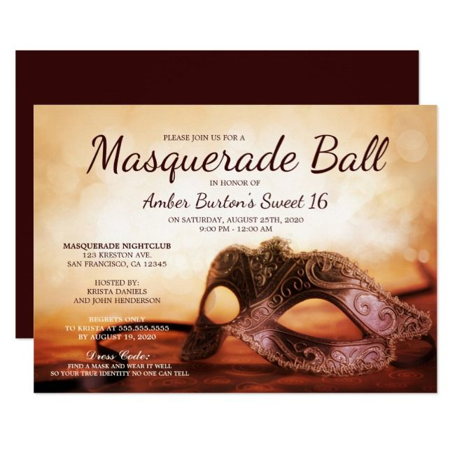 Create your own Invitation | Zazzle.com | Masquerade ...
