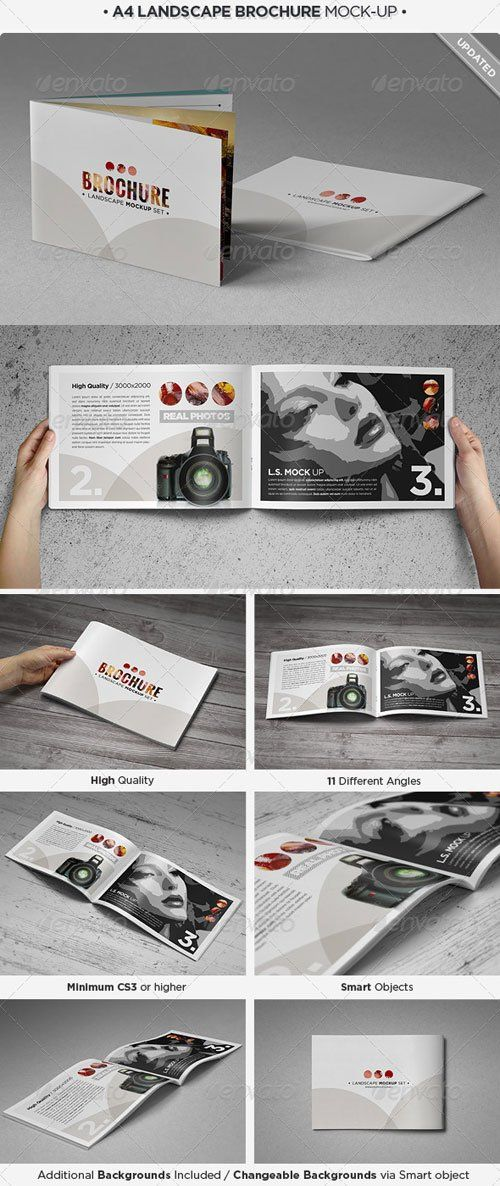 Graphicriver Landscape Brochure MockUp Set  Free Graphicriver