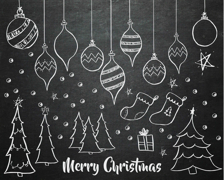 Hand Drawn Christmas Chalkboard Clipart - Chalkboard Christmas Tree Elements - DIY Invitations - DIY Greeting Cards - Christmas Ornament