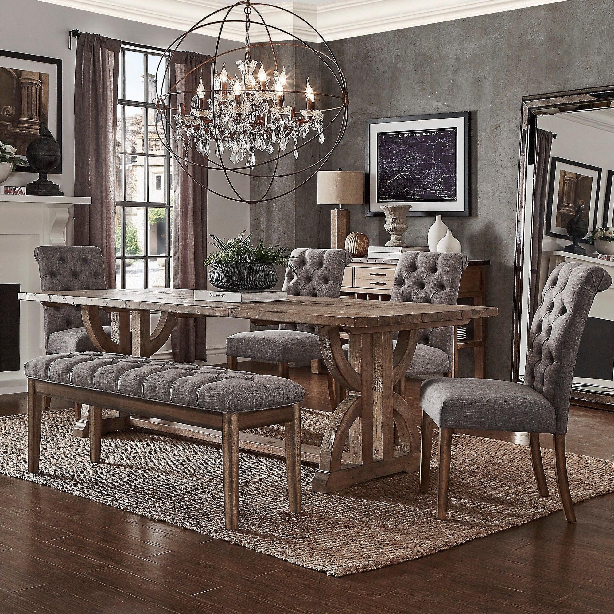 Apartment Size Dining Room Sets: Paloma Salvaged Reclaimed Wood Rectangular Trestle Dining