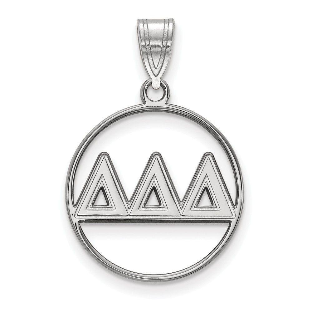 Sterling Silver LogoArt Delta Delta Delta Small Circle Pendant