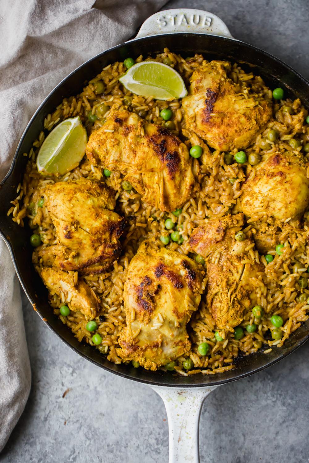 One Pan Tandoori Chicken with Spiced Coconut Rice #tandoorichicken