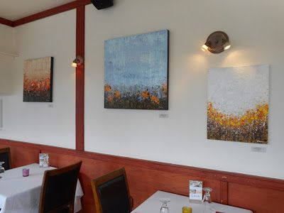 Some of my works on display at restaurant Le Grilladin in Mont-Laurier | Quelques toiles exposées au restaurant Le Grilladin à Mont-Laurier @lisacarneyart #art #exhibition