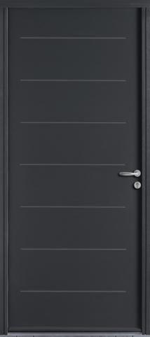 Porte d 39 entr e acier quation de couleur gris anthracite ral7016 satin j ma porte d - Porte interieur gris anthracite ...